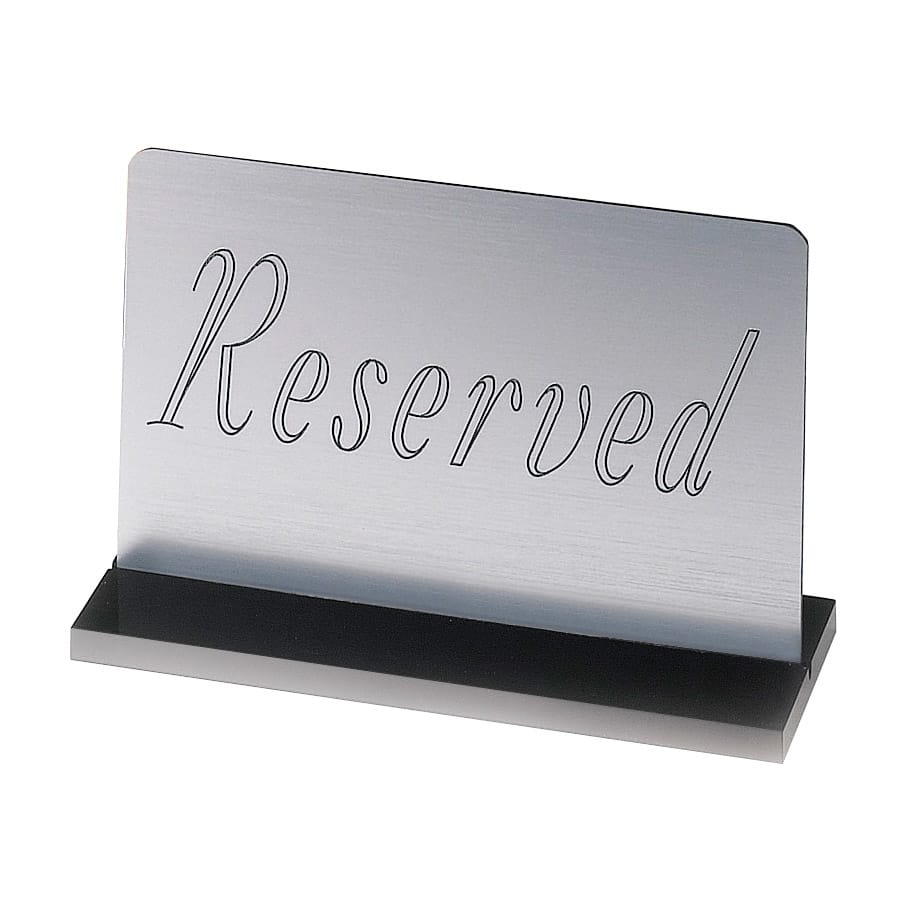 "Cal-Mil 956-10 ""Reserved"" Table Sign - 3"" x 5"", Silver"