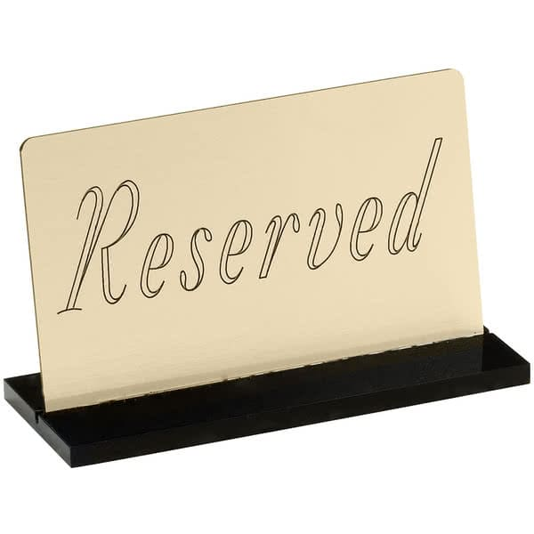 "Cal-Mil 956-11 ""Reserved"" Table Sign - 5"" x 3"", Metal, Gold"