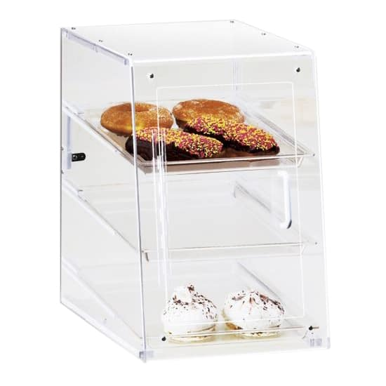 Cal-Mil 963-S 3 Tier Pastry Display Case w/ Hinged Door - Acrylic, Clear