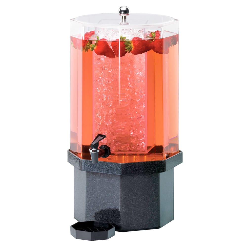 Cal-Mil 972-5-17 5 Gallon Octagon Beverage Dispenser w/ Ice Chamber & Charcoal Base