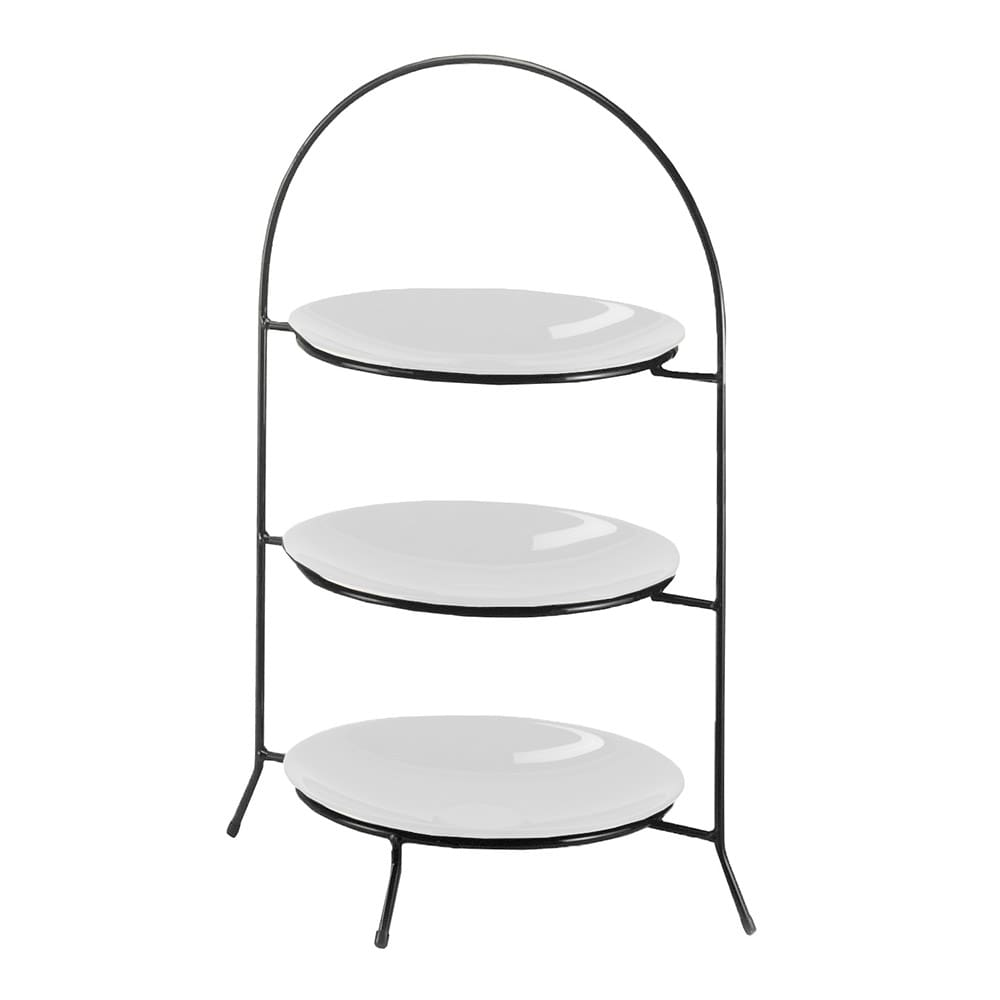 """Cal-Mil 977-10-13 3 Tier Display Or Server w/ Arched Black Iron Frame, 20"""" High"""