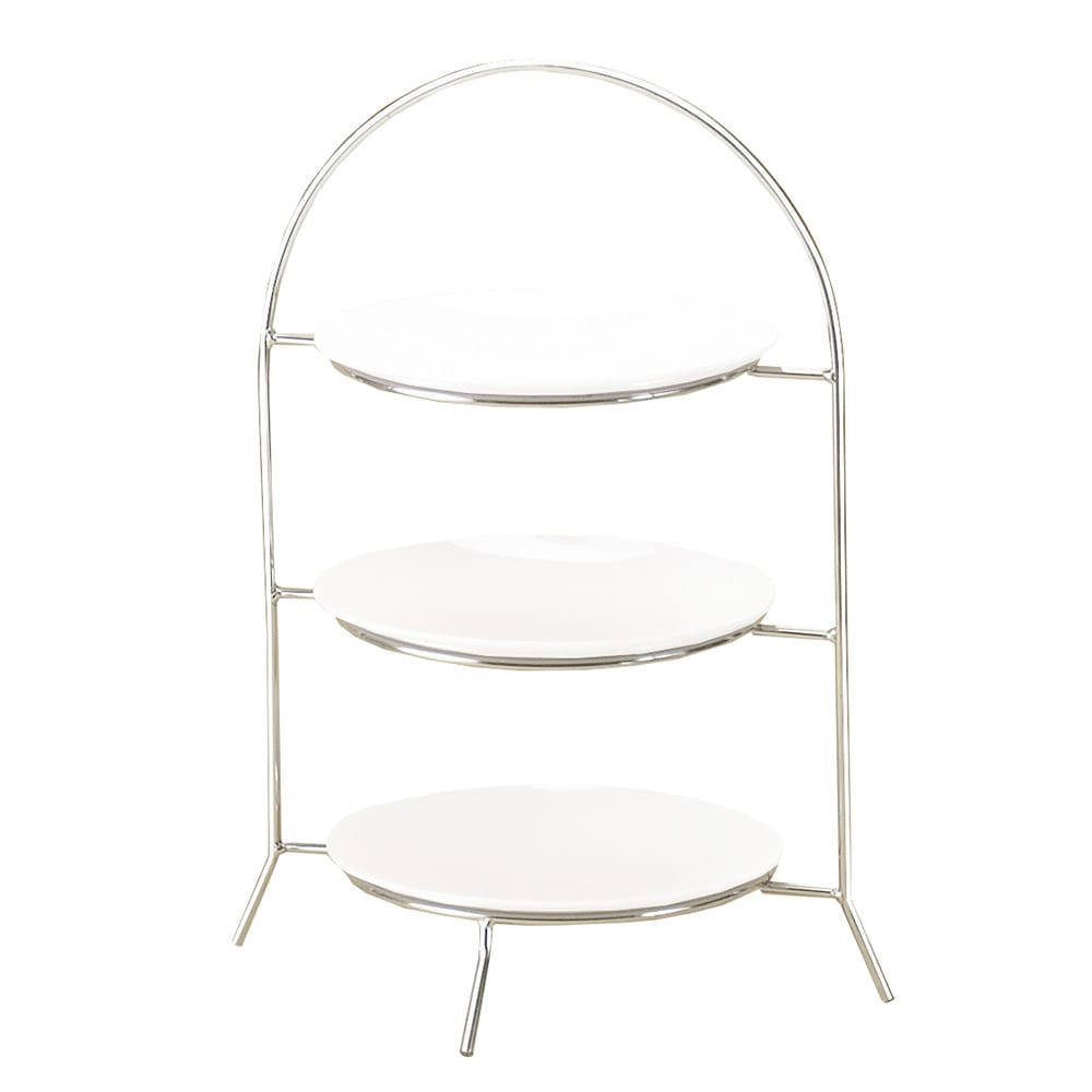 """Cal-Mil 977-10-49 3 Tier Display Or Server w/ Arched Chrome Frame, 20"""" High"""