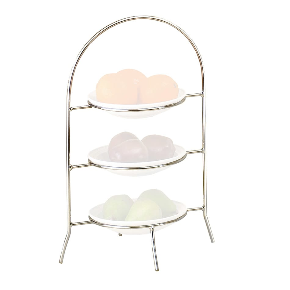 """Cal-Mil 977-8-49 3-Tier Display Or Server w/ Arched Chrome Frame, 18"""" High"""