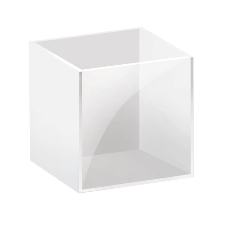 "Cal-Mil C4X4-15 4"" Square Bin for 1474 Display Riser - Plastic, White/Clear"