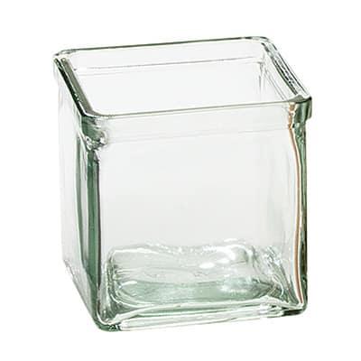 "Cal-Mil C4X4GLCN Recycled Glass Jar, 4 x 4 x 4"""