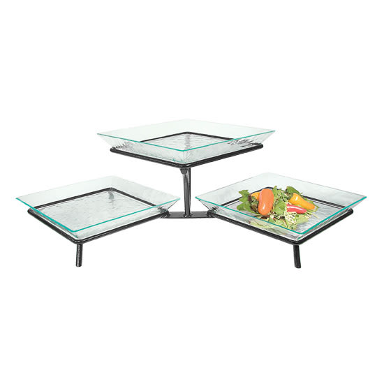 Cal-Mil GL1600-13 3 Tier Square Glacier Tray Display - Green Acrylic, Black