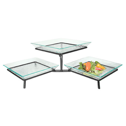 Cal-Mil GL1600-39 3-Tier Square Glacier Tray Display - Green Acrylic, Platinum