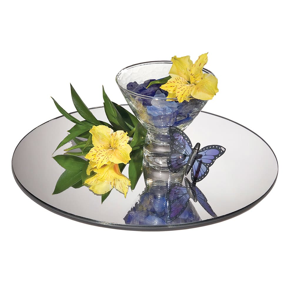 """Cal-Mil GT12 12"""" Round Mirror Tray - Rimless, Glass"""