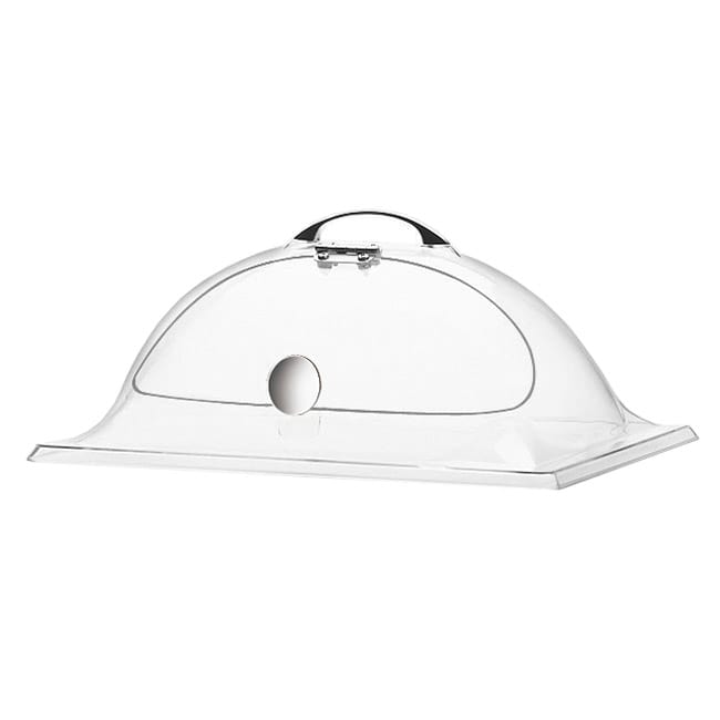 "Cal-Mil HU891 Dome Display Cover w/ 1-Side Cut Out & Hinged Door, 12 x 20"" H"