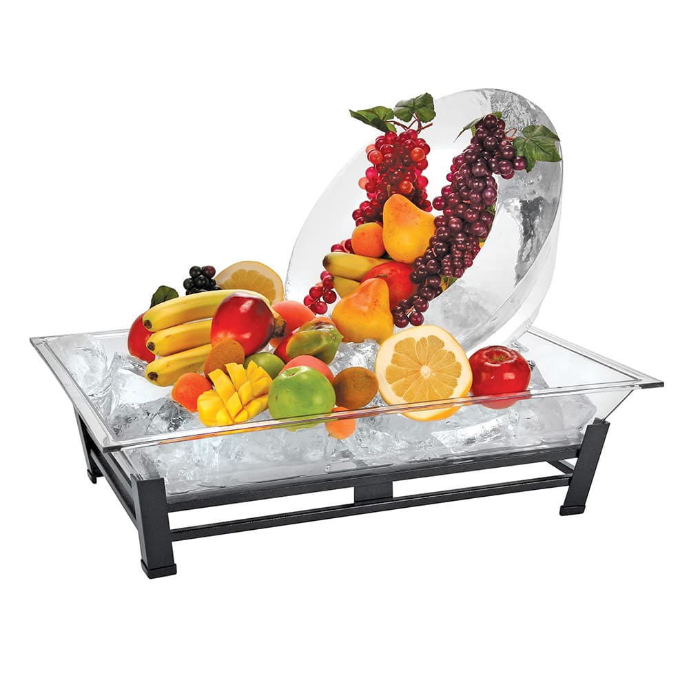 "Cal-Mil IP102-13 Rectangular Ice Display Pedestal - Ice Pan, Drain, 19x27x8"", Black"