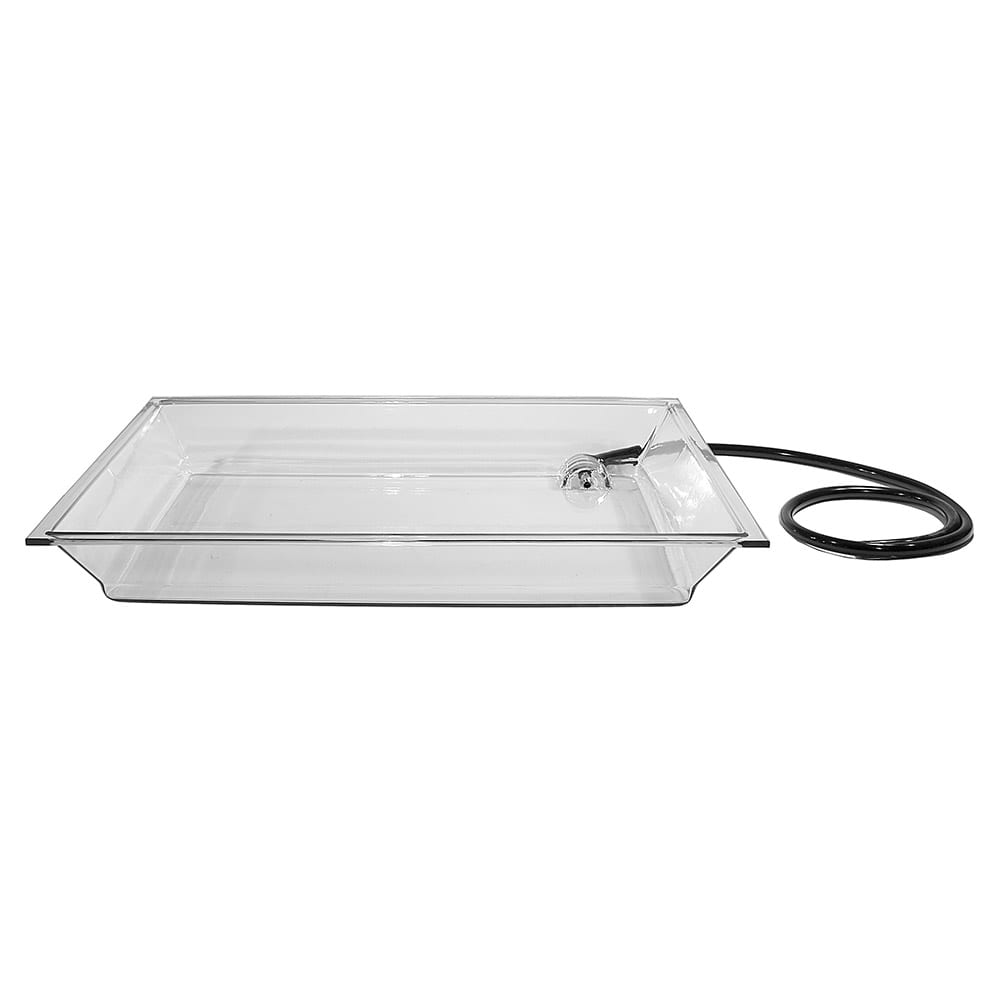 "Cal-Mil IP152 Small Rectangle Ice Display Pan Fits IP102 - Drain, Hose, 20 1/4x28 1/2x4"", Clear"