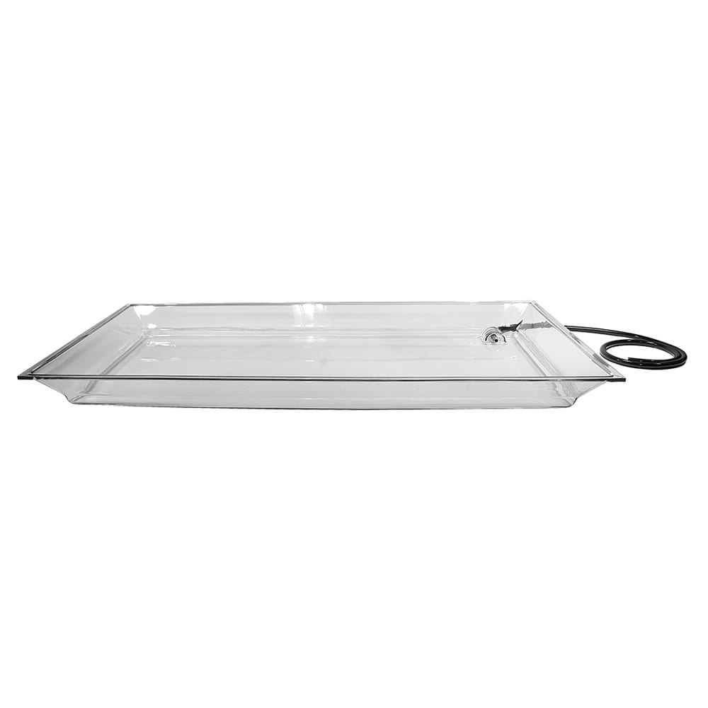 "Cal-Mil IP252 Large Rectangular Ice Display Pan - Drain, Hose, 25x50 1/2x4"", Acrylic, Clear"