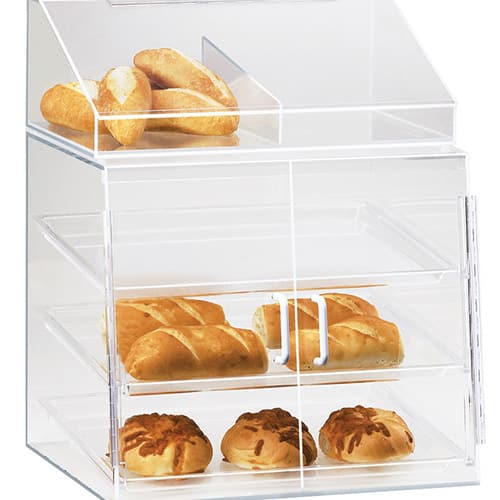 Cal-Mil P241SS 3 Tier Pastry Display Case w/ Hinged Doors - Acrylic, Clear