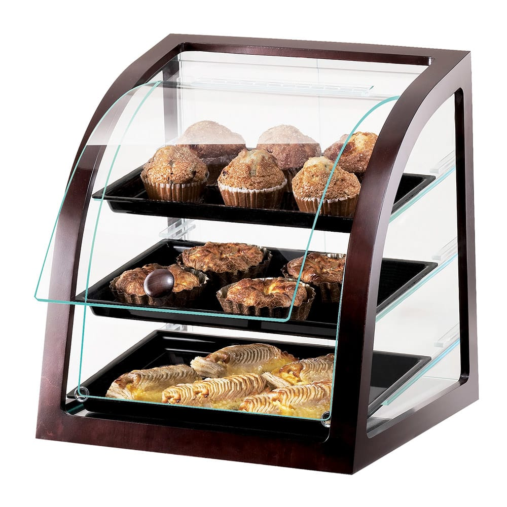 Cal-Mil P255-52S Countertop Display Case w/ Rear Door & Euro Front, Dark Wood Trim