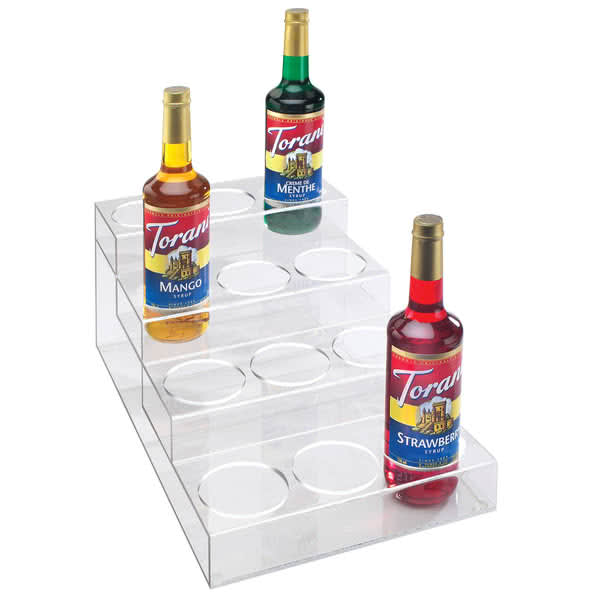 Cal-Mil P297 4 Tier Bottle Display w/ (12) Bottle Capacity - Acrylic, Clear