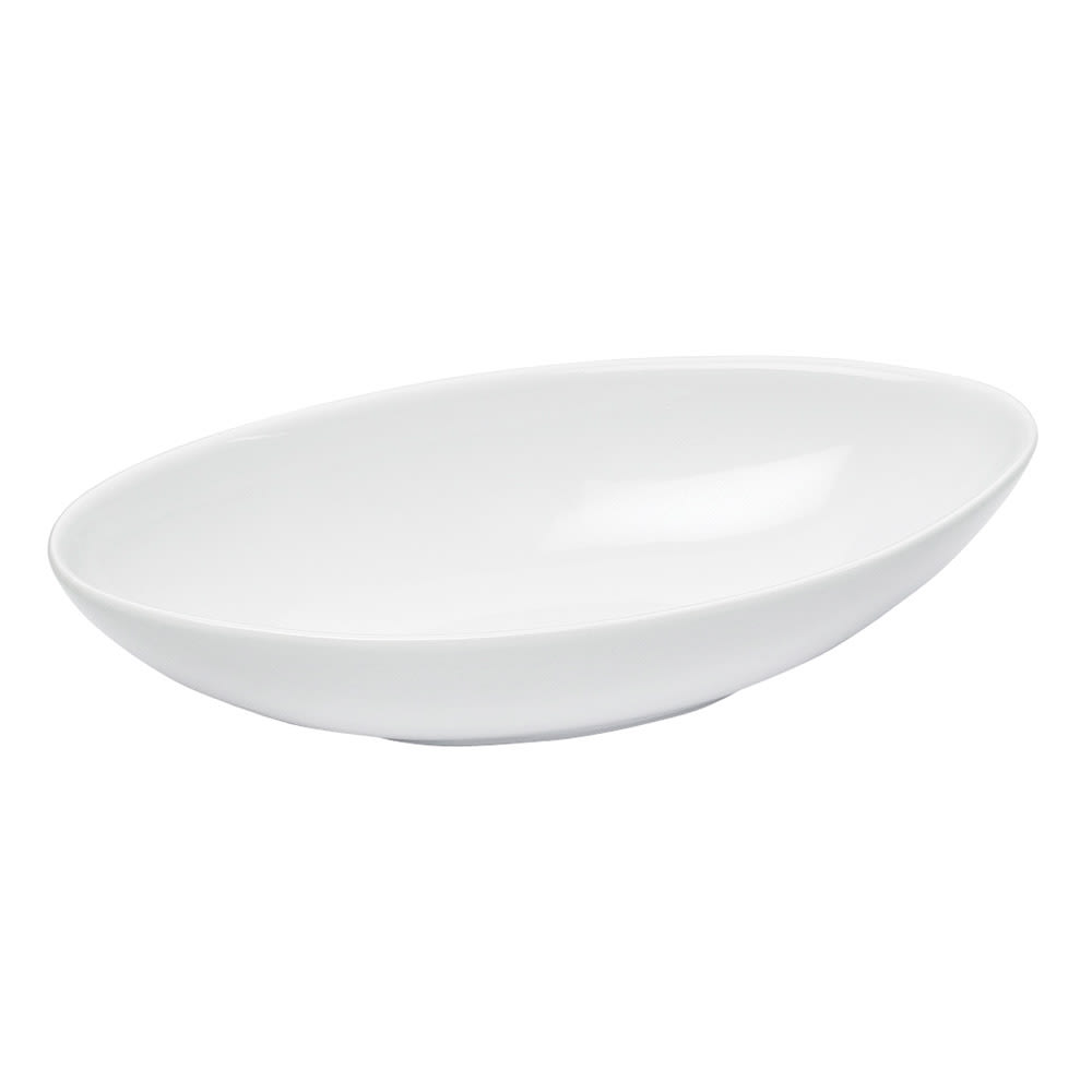 Cal-Mil PP1151 24 oz Canoe Shaped Bowl - Porcelain, Bright White