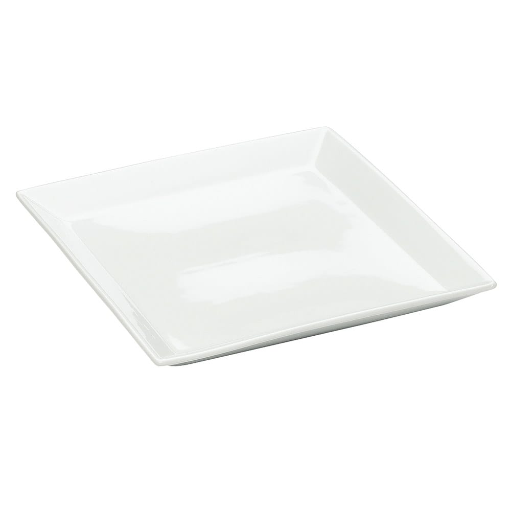 "Cal-Mil PP252 11"" Square Gourmet Display Platter - Bright White Porcelain"