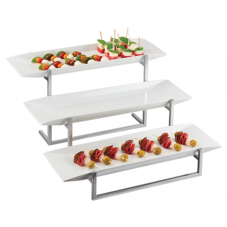 "Cal-Mil PP3661-49 3 Tier Display Stand w/ Porcelain Platters - 23""W x 24.5""D x 12""H, Chrome"