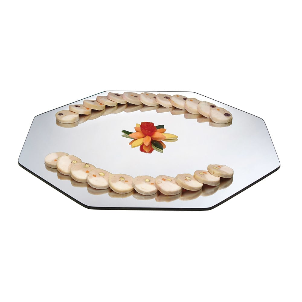 "Cal-Mil PT241 24"" Octagon Gourmet Display Mirror Tray - Acrylic"