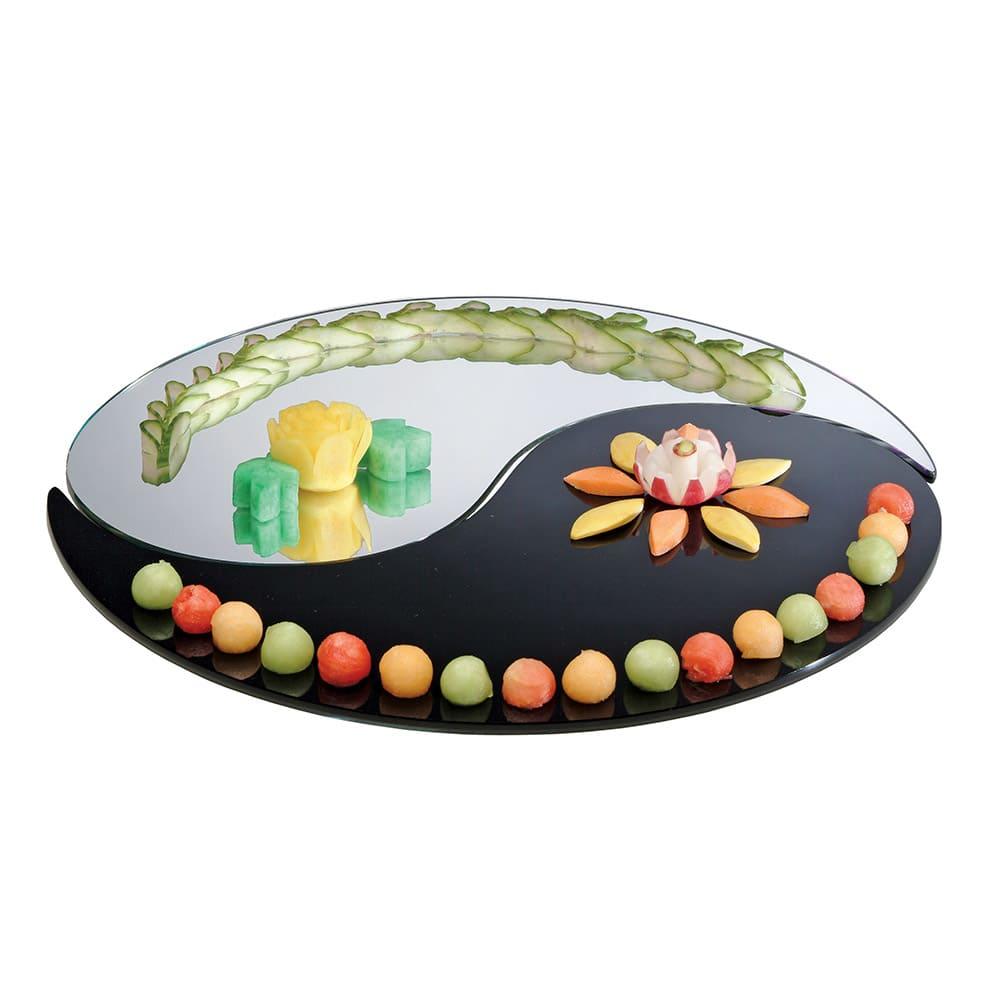 "Cal-Mil PT325 32"" 2-Piece Gourmet Yin Yang Mirror Tray Set - 1 Black, 1 Mirror, Acrylic"