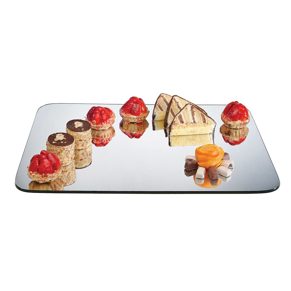 "Cal-Mil PT403 Rectangular Gourmet Display Mirror Tray - 28x40"", Acrylic"