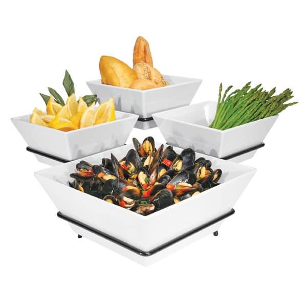 Cal-Mil SR1010-13 3 Tier Gourmet Quad Bowl Display - Melamine Bowls, Black