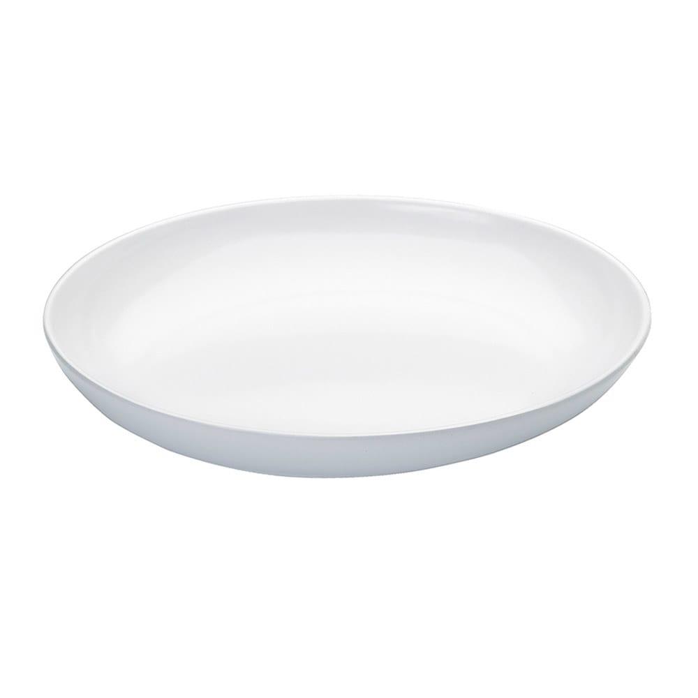 """Cal-Mil SR950 12"""" Oval Melamine Platter - 3 1/2 qt., Sierra, White"""