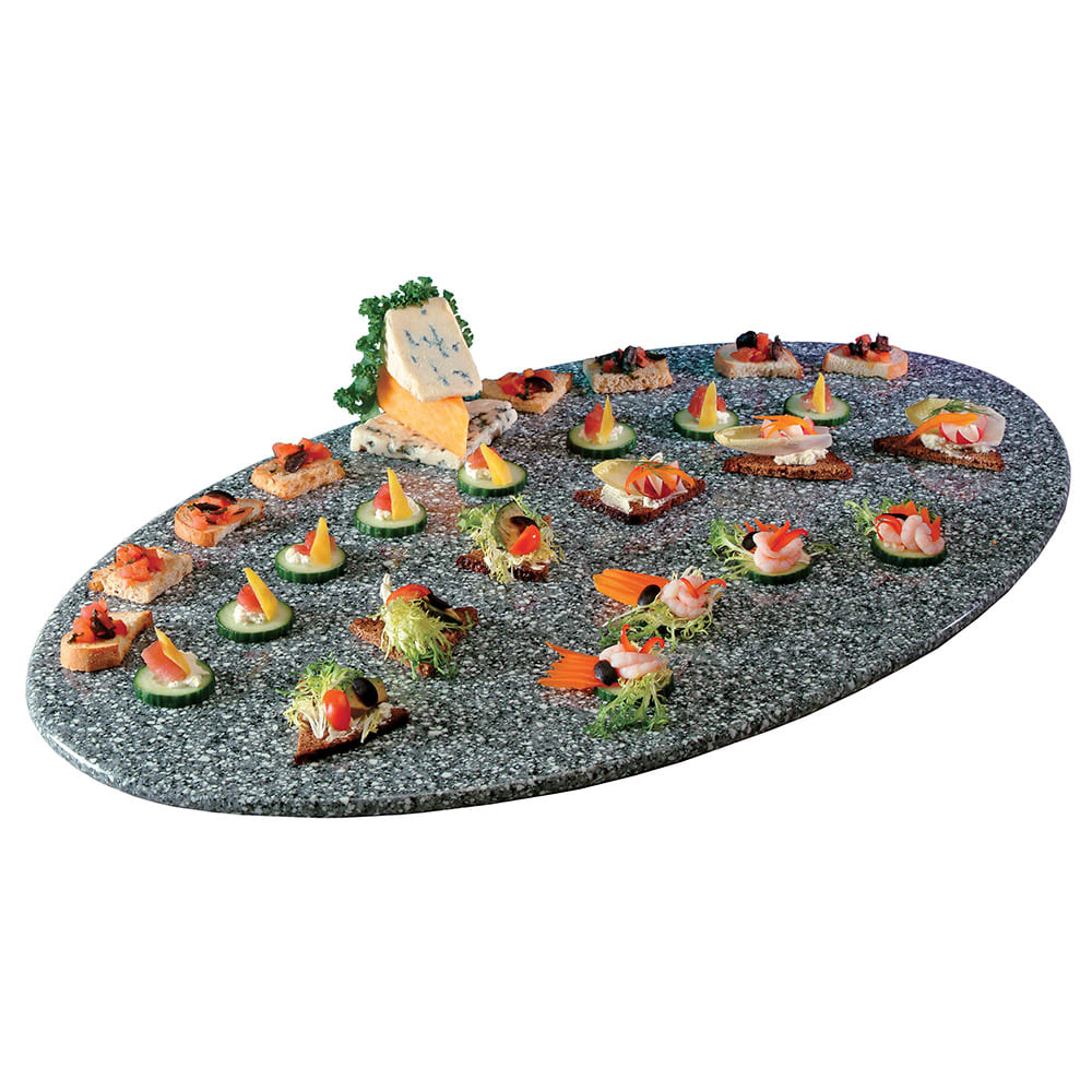 """Cal-Mil SS312-30 31"""" Oval Gourmet Faux Stone Serving Tray - Grey"""