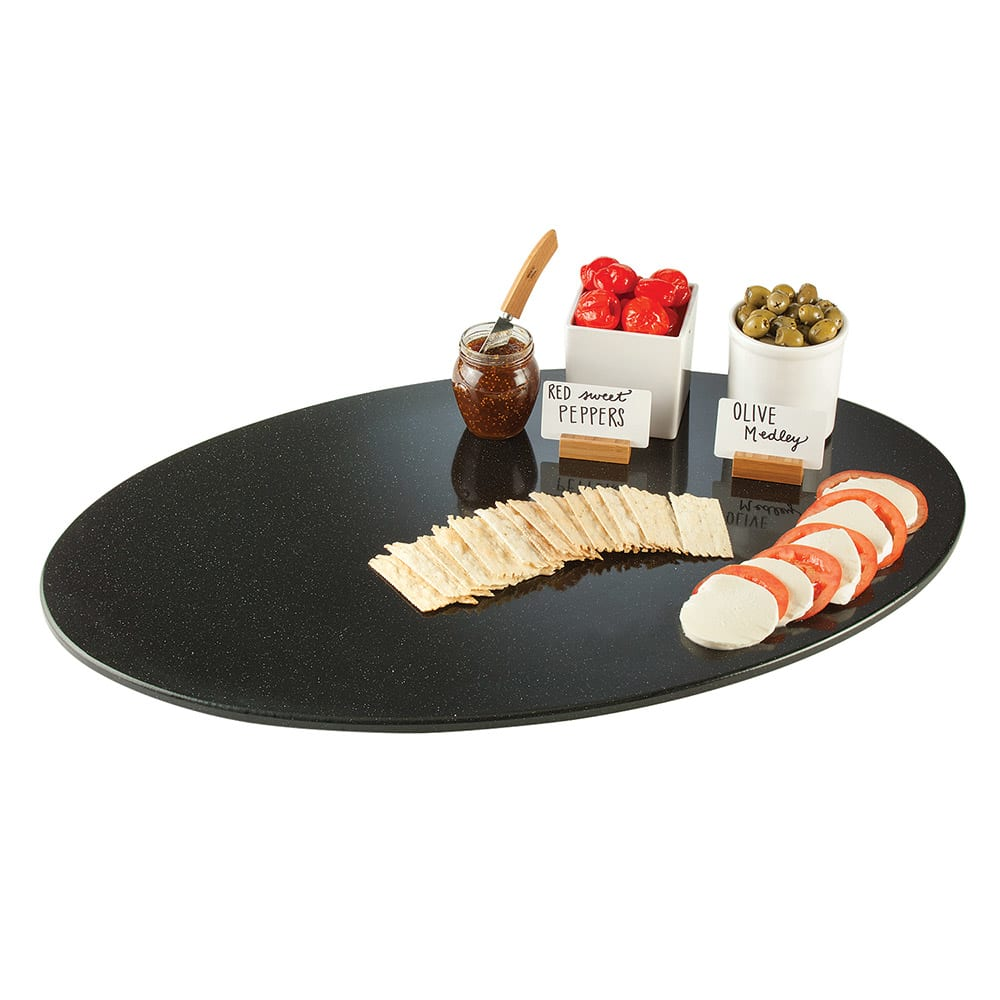 """Cal-Mil SS312-31 31"""" Oval Gourmet Faux Stone Serving Tray - Black"""