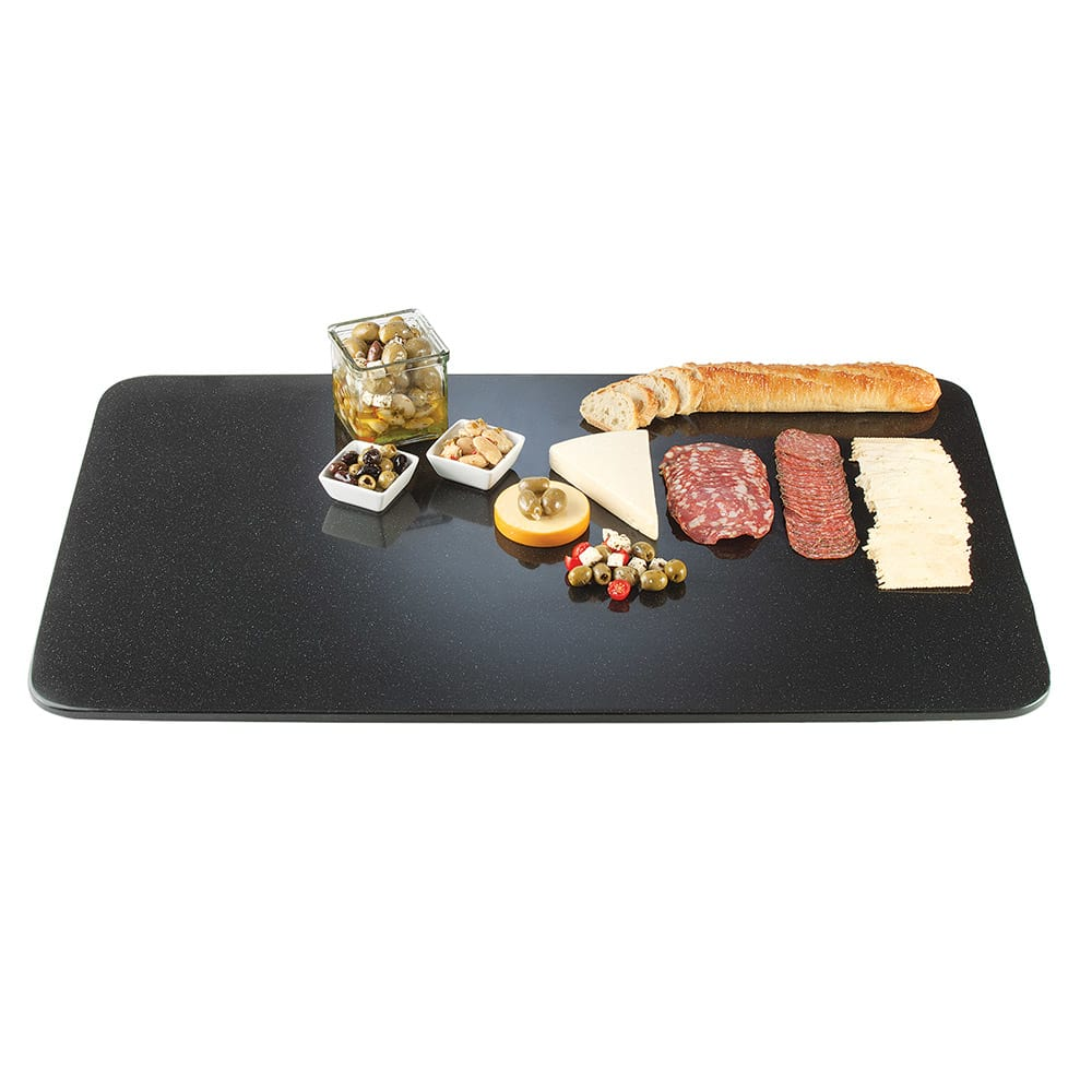 "Cal-Mil SS353-31 35x19"" Rectangular Gourmet Faux Stone Serving Tray - Black"