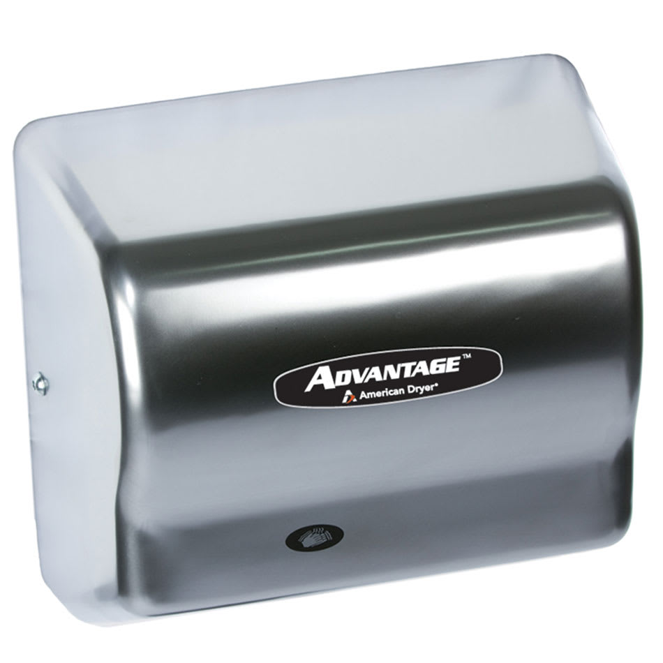 American Dryer AD90-C Hand Dryer - Auto Sensor, 180 CFM/min, Satin Chrome