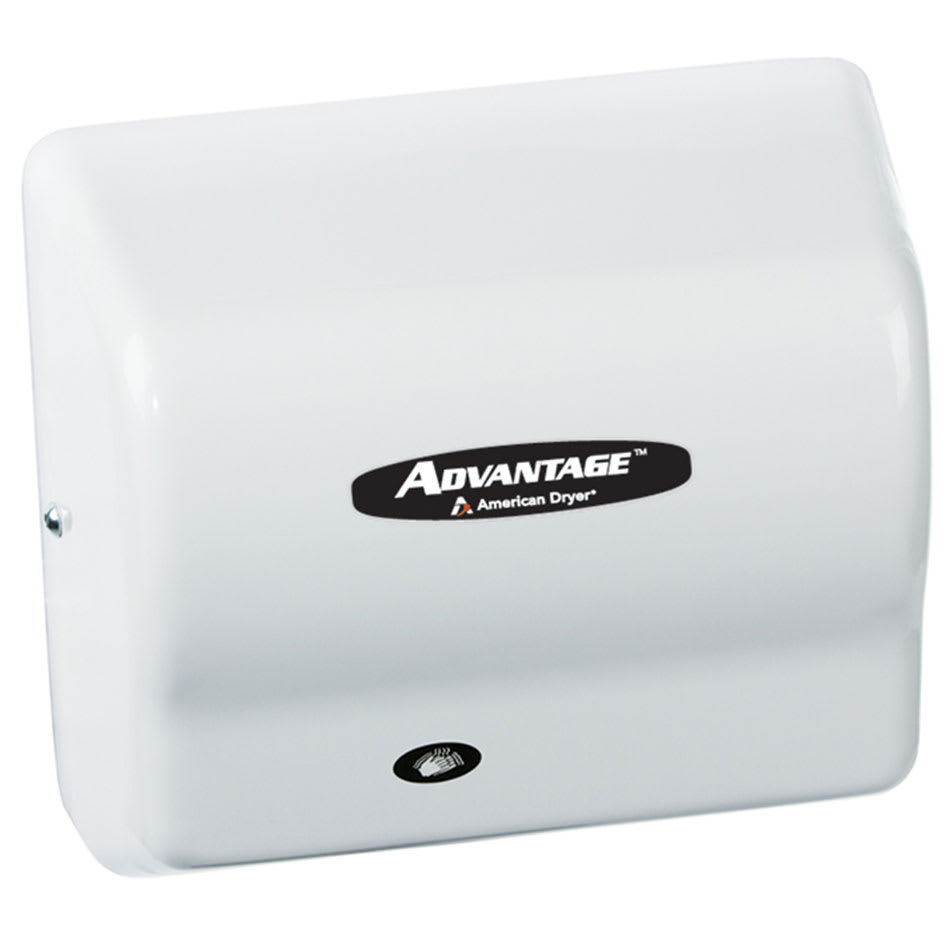 American Dryer AD90-M Hand Dryer - Auto Sensor, 180 CFM/min, White Steel