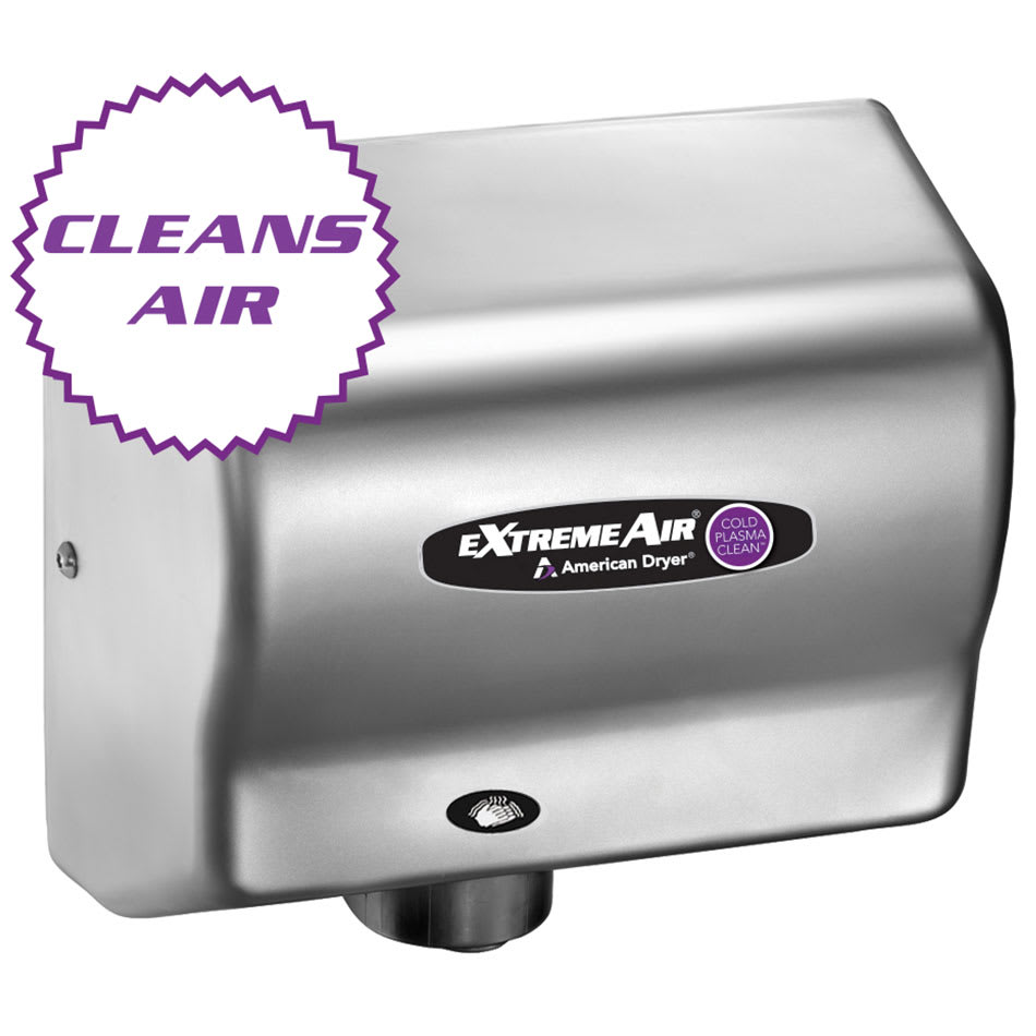 American Dryer CPC9-C Hand Dryer - High Speed, Cold Plasma Clean, Steel Satin Chrome