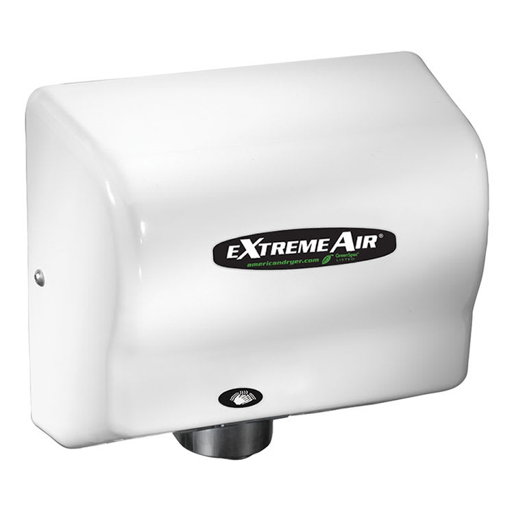 American Dryer GXT9 Hand Dryer - 10+ Second Dry Time, Automatic Sensor, White ABS