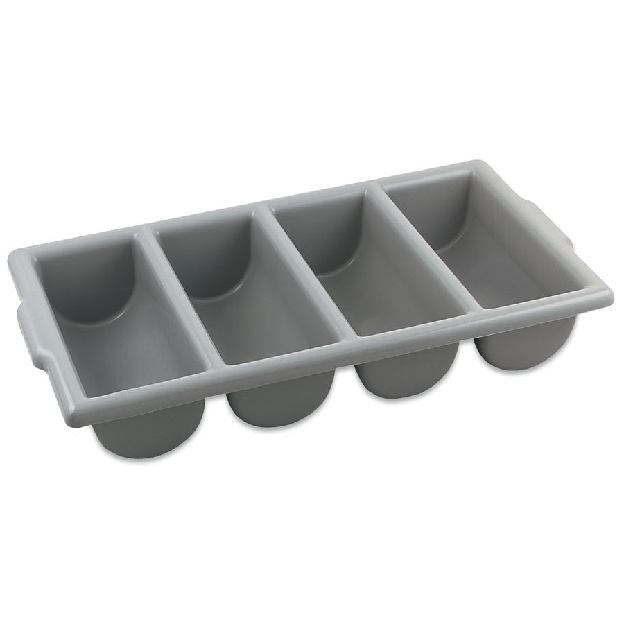 Browne 1990 Cutlery Box, 4 Compartments, 21.5 x 11.75 x 3.75 in, Gray