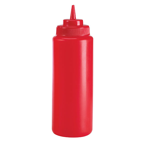 Browne 2101 12 oz Ketchup Squeeze Bottle, No Drip Tip, Red