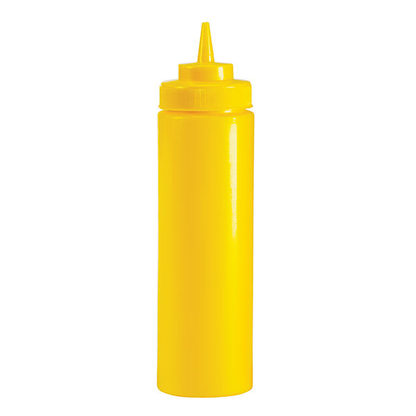 Browne 2102 12 oz Mustard Squeeze Bottle, No Drip Tip, Yellow