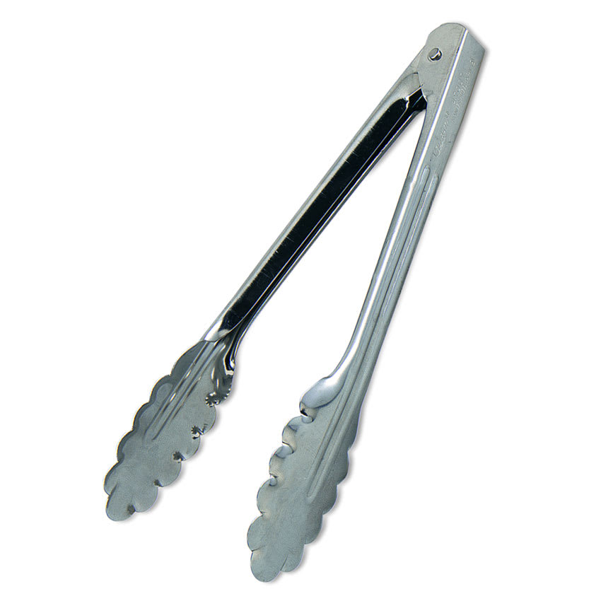 Browne 3512EH Spring Tongs, 12 in, Extra Heavy Weight, Stainless Steel, Scalloped