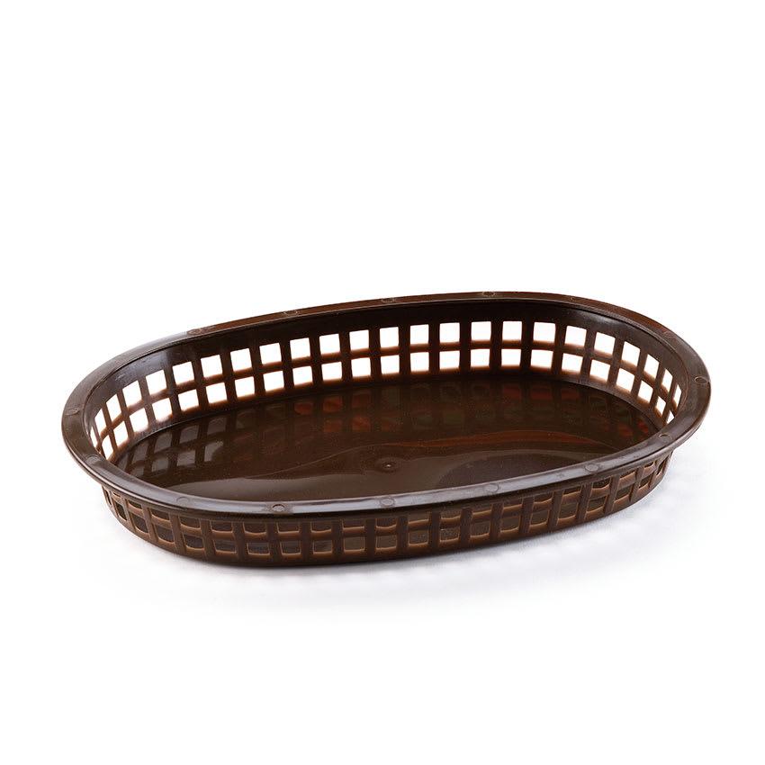 Browne 496FBR Fast Food Basket, Oval, 10-1/4 x 7 x 1-1/2 in, Plastic, Brown