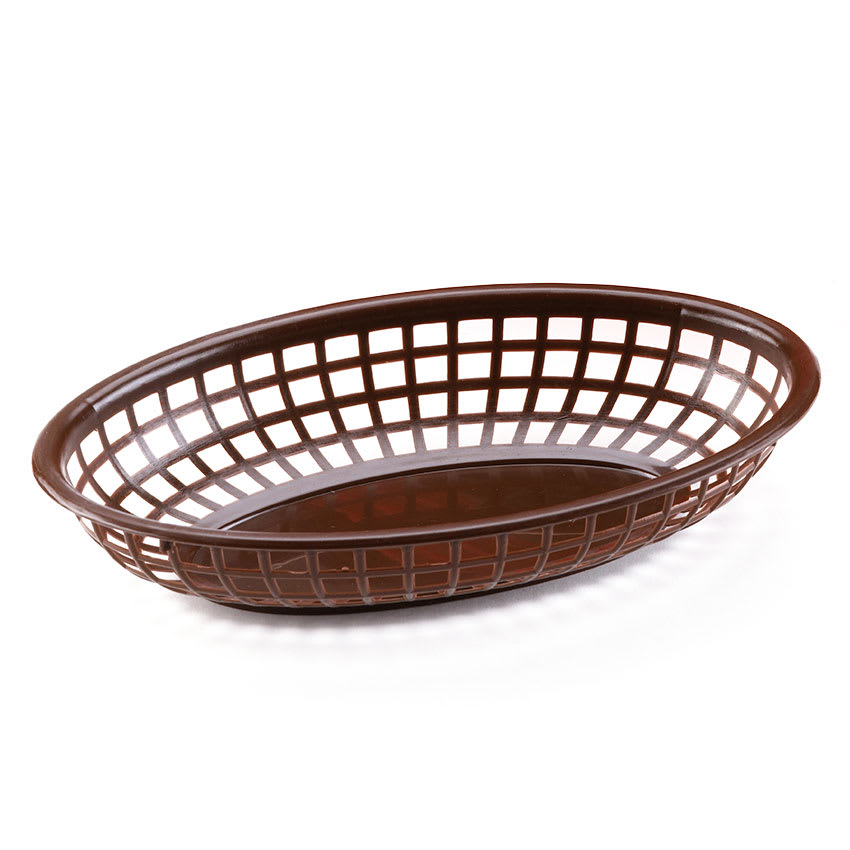 "Browne 499FB Fast Food Basket, Oval 9 1/2 x 2"", Sloped Sides, Flexible Plastic, Brown"