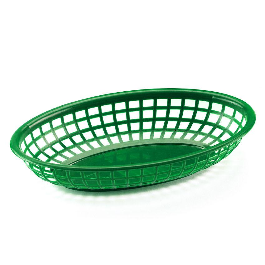 "Browne 499FG Fast Food Basket, Oval 9-1/2 x 2"", Sloped Sides, Flexible Plastic, Green"