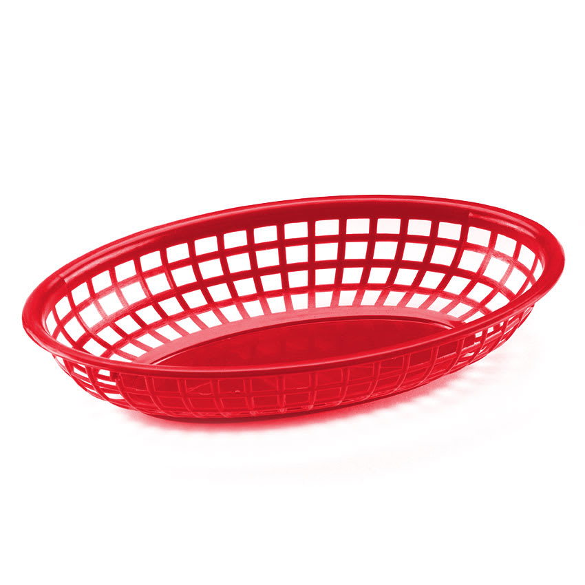 "Browne 499FR Fast Food Basket, Oval 9-1/2 x 2"", Sloped Sides, Flexible Plastic, Red"