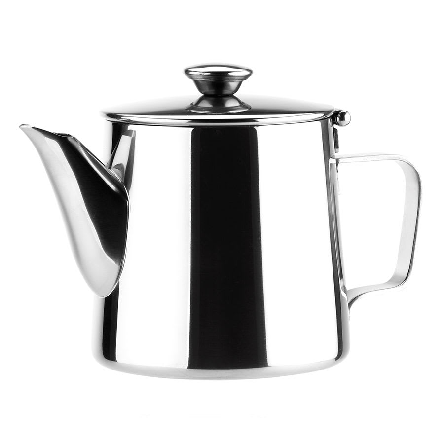 Browne 515002 Contemporary Teapot,  12 oz, Short, 18/8 Stainless Steel