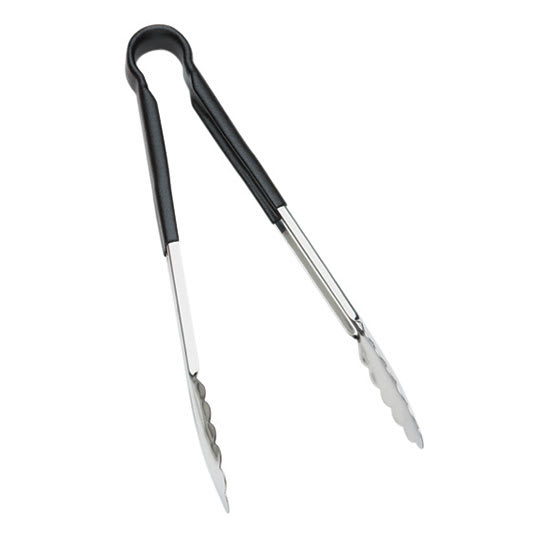 "Browne 5511BK 9""L Stainless Utility Tongs, Black"