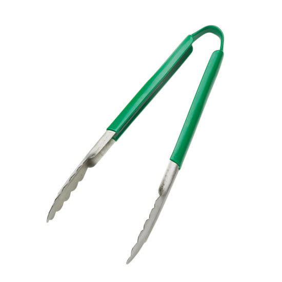 "Browne 5511GR 9""L Stainless Utility Tongs, Green"