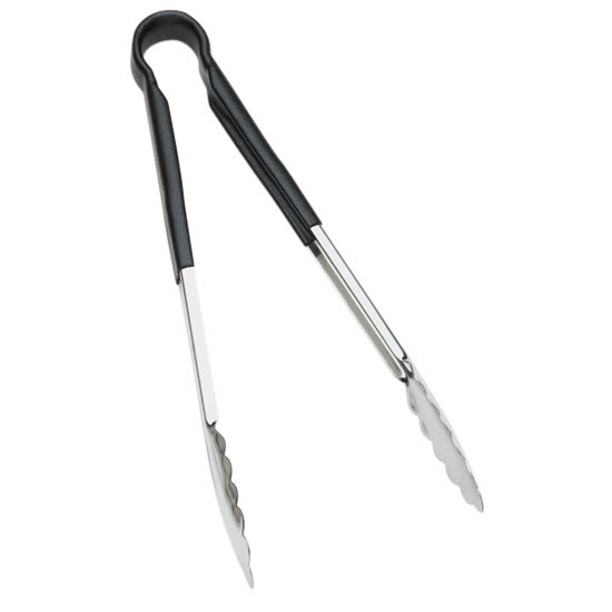 "Browne 5512BK 12"" Tongs, Stainless Steel, Black Handle"