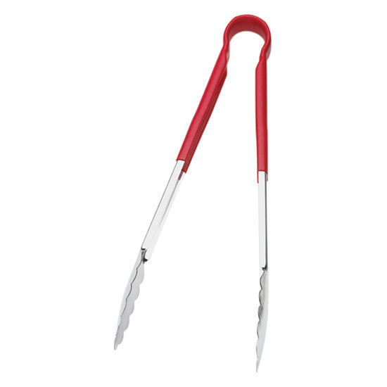 "Browne 5513RD 16""L Stainless Utility Tongs, Red"
