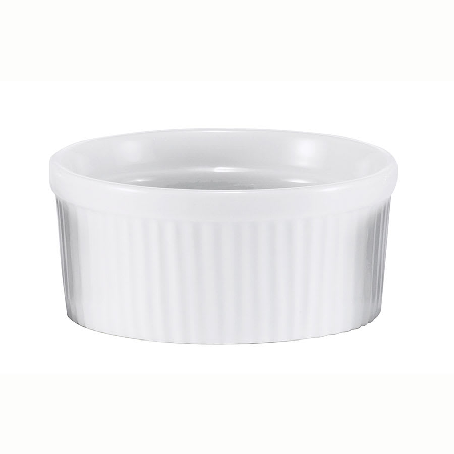 Browne 564003W Ramekin, Ribbed, Ceramic, 2.5 oz, White