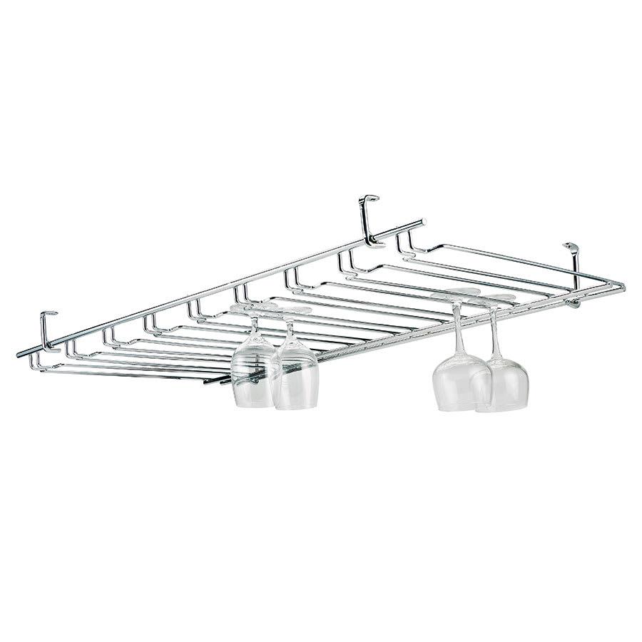 Browne 57184850 Overhead Glass Hanger/ Rack, 11 Slot, Chrome