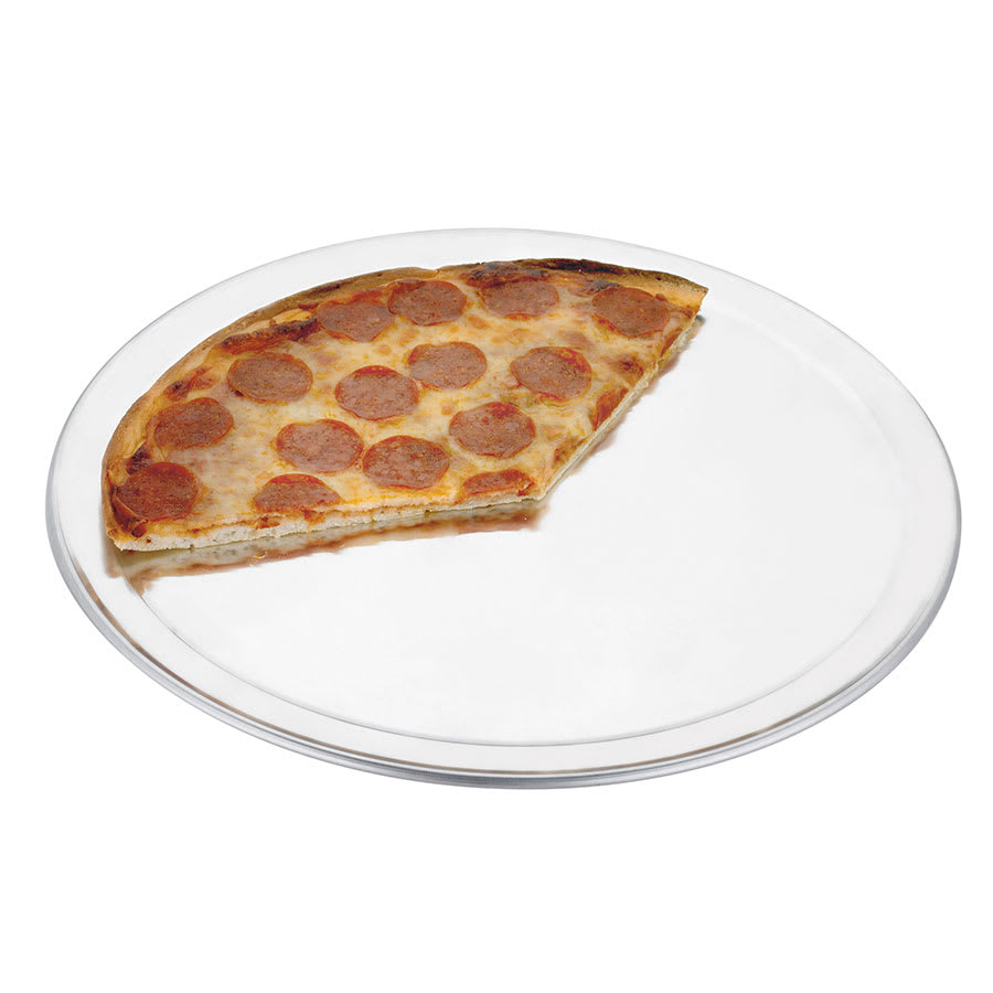 "Browne 57 30028 8""Wide Rim Pizza Pan, Aluminum, Natural Finish"